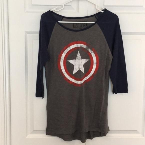 Marvel Tops - Captain America baseball tee